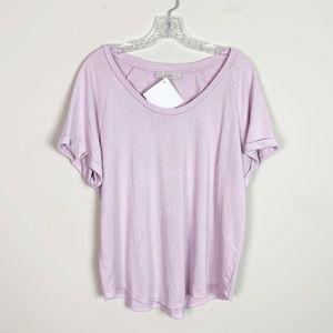 Loft   laevender short sleeve flowy t-shirt large